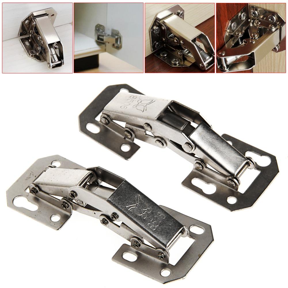 2Pcs Easy Mount 90 Degree Concealed Kitchen Cabinet Cupboard Sprung Door Hinges 2pcs 90 degree concealed hinges cabinet cupboard furniture hinges bridge shaped door hinge with screws diy hardware tools mayitr
