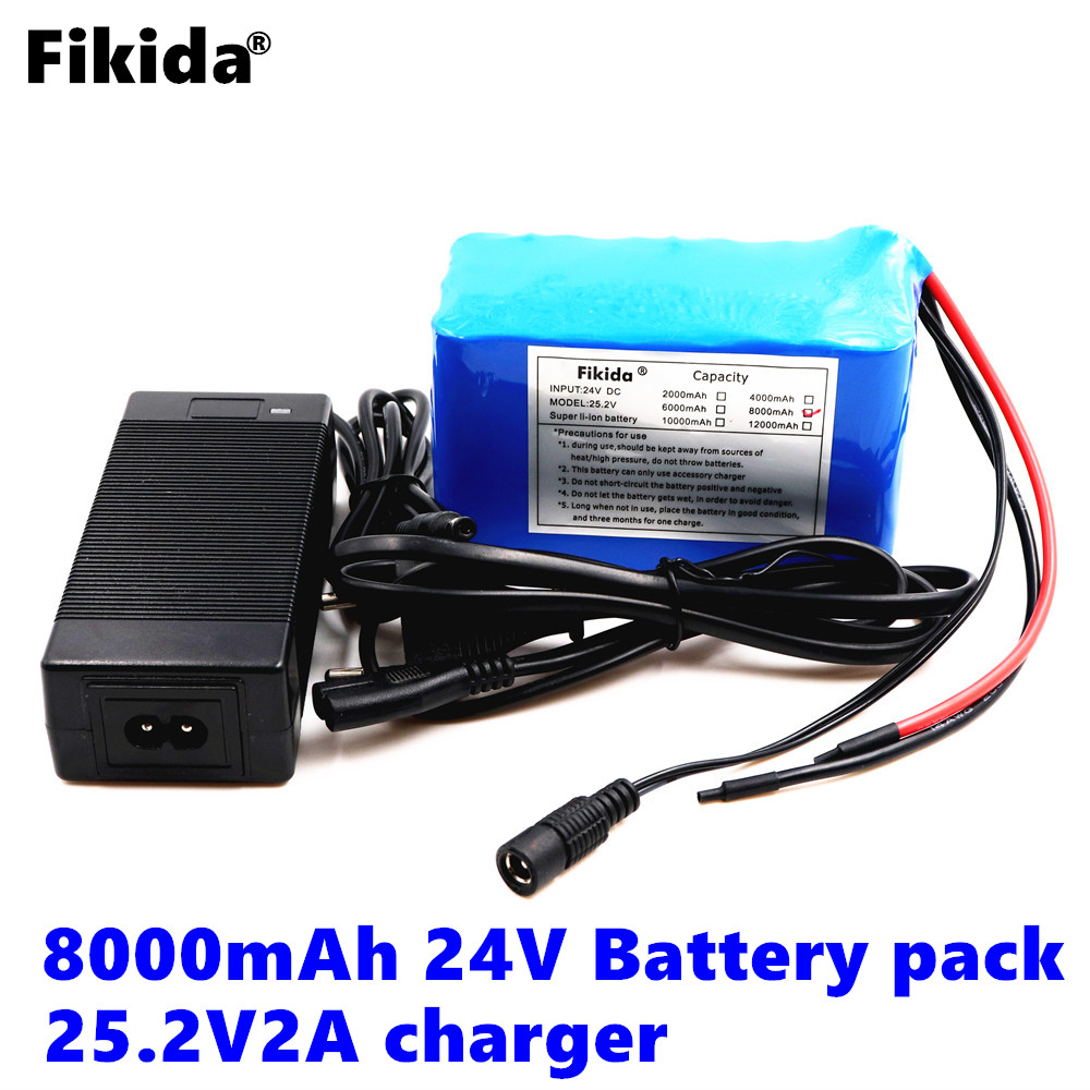 Fikida 24v 12ah 6S6P lithium battery pack 25.2V 12ah battery li-ion for bicycle battery pack 250w e bike 250w motor wit