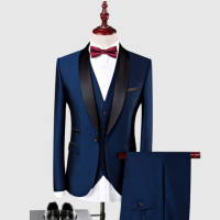 New Arrival Customized Shawl Black Lapel Groom suit Wedding Best Men suits 3 Pieces (Jacket+Pants+Vest) Royal Blue man Suit