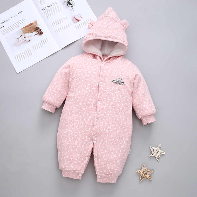d642e9c903b40 ... Baby Clothes Baby Girl Romper Infant Jumpsuit Bebes Hooded Warm Cartoon  Bear Costume Winter Overalls Newborn ...
