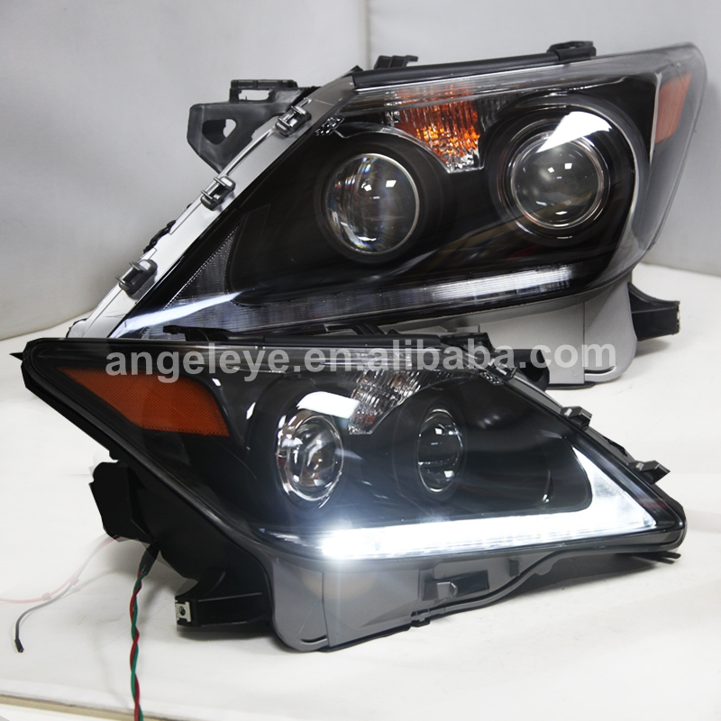 LED Head Lamps With Projector Lens 2012-2014 Year For Lexus LX570 Black Housing LZ