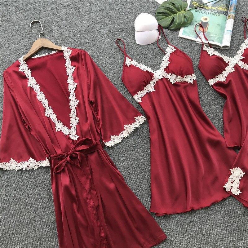 Acquista 4 Pezzi Pigiama Di Seta Set Sleeping Suit Women Sleepwear ... 5b99addf9