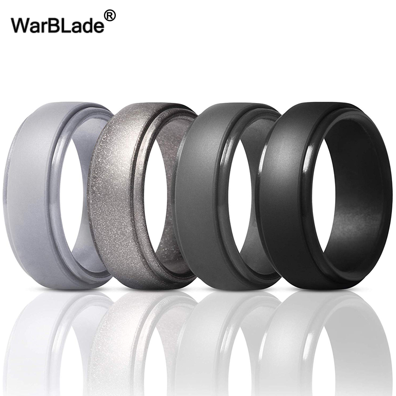 WarBLade New Food Grade FDA Silicone Rings Men Wedding Rubber Bands Hypoallergenic Flexible Antibacterial Silicone Finger Ring 5