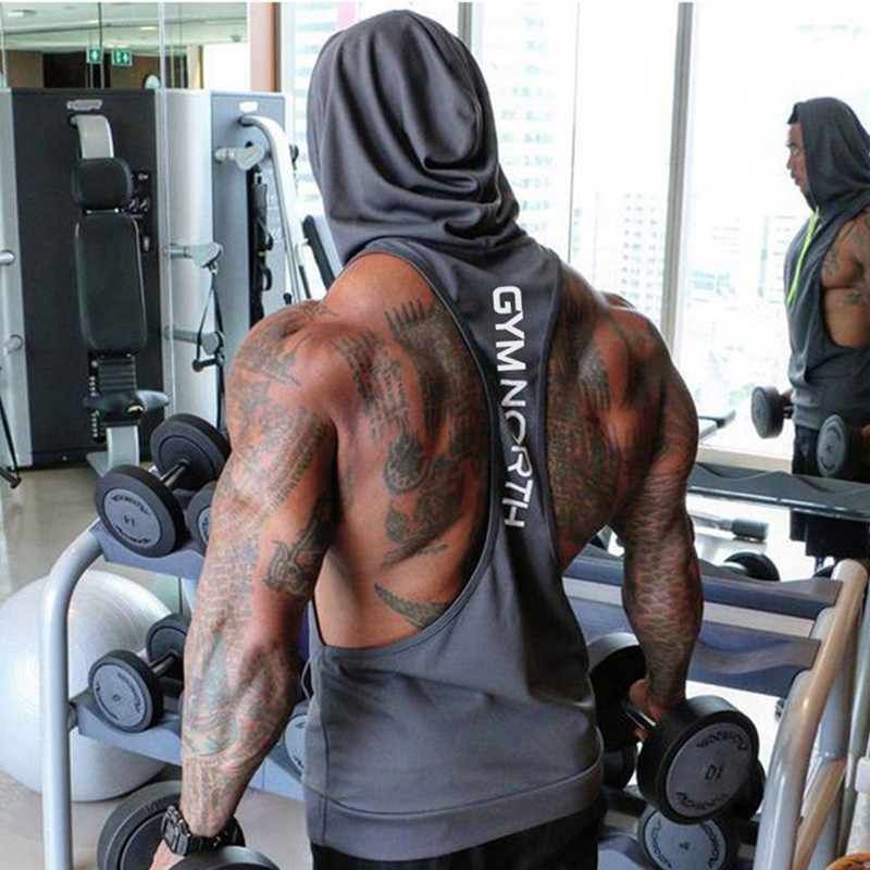 2019 Summer Mesh Breathable Brand Mens Print Gyms Stringers Vest Bodybuilding Clothing Fitness Man Hooded Tanks Tops