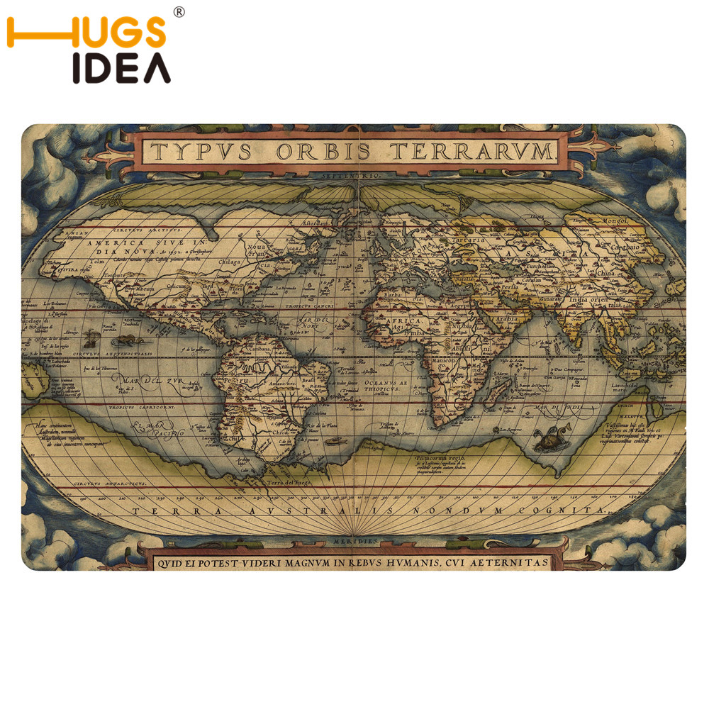 Hugsidea Vintage World Map Carpet Mat Non Slip Thin