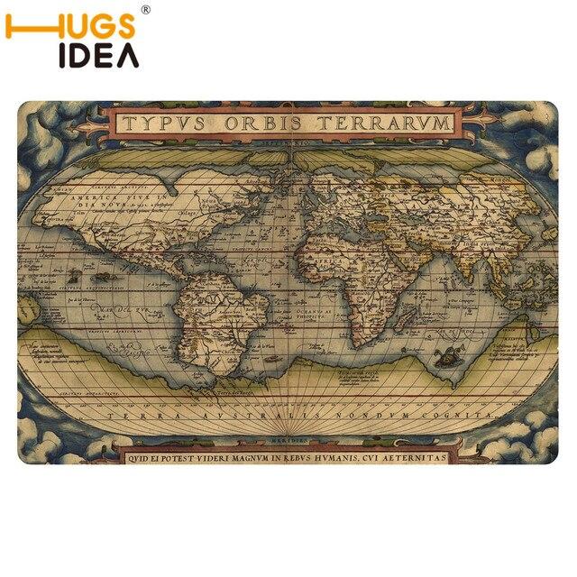 HUGSIDEA Vintage World Map Carpet Mat Non Slip Thin Carpets Rugs - Old world map rug