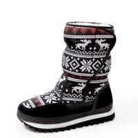 Kobiety snow boots 2017 new arrivals grube pluszowe buty zimowe wodoodporne połowy łydki kobiety buty platformy buty animal prints