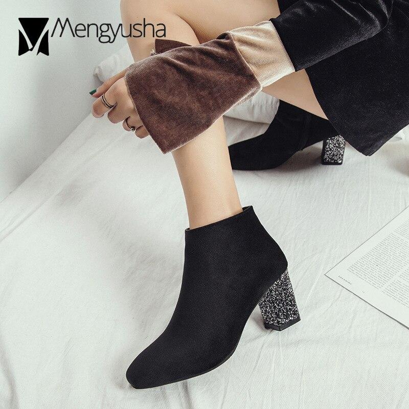 Cuadrado Chelsea Gruesos Botas Feminina Del Marca Tacones Dedo Diseño Zapatos gray Terciopelo Estilo Tobillo Invierno Bling Coreano Retro Negro Pie Mujeres Corto De x6fqXzf