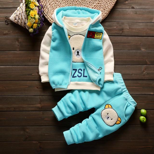 2016 Outono Crianças Ternos Conjuntos de Roupas Meninos Das Meninas Do Bebê Bonito Infantil Ternos Casaco + T Shirt + Calças de Algodão 3 Pcs Espessamento Roupas Casuais