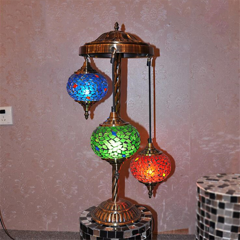 European Bohemian Blue Stained Glass Gold Metal Art Deco Three LED E27 Desk Table Lamp Light Salon Office Study Cafe Decorative fumat stained glass table lamp high quality goddess lamp art collect creative home docor table lamp living room light fixtures