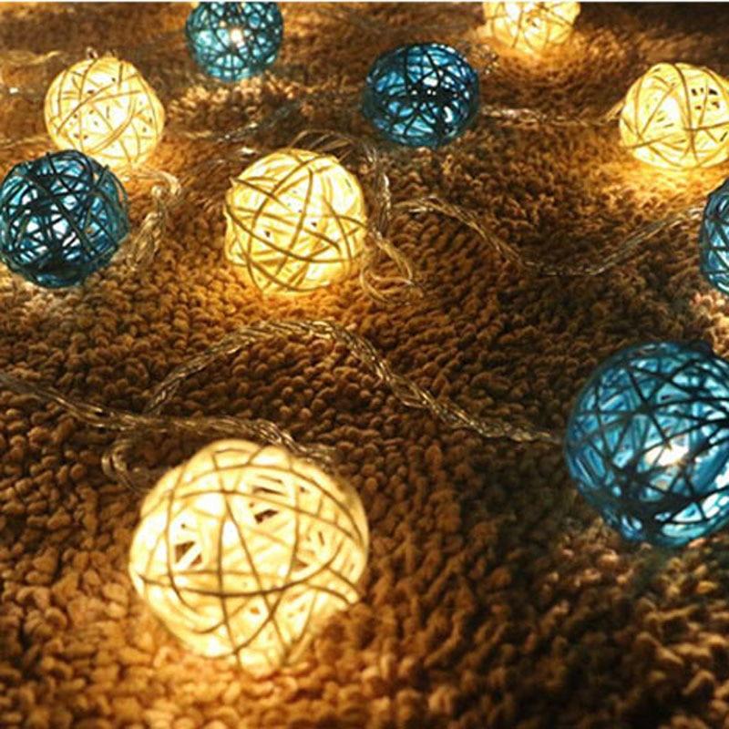 Battery LED Christmas Outdoor String Light 20 White Blue Rattan Balls Wedding Fairy Holiday Garden Room Decor Garland Light