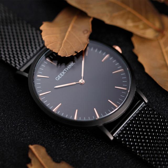 GEEKTHINK Stainless Steel Fine Mesh Strap Ultra Thin Watches Quartz Men Luxury B