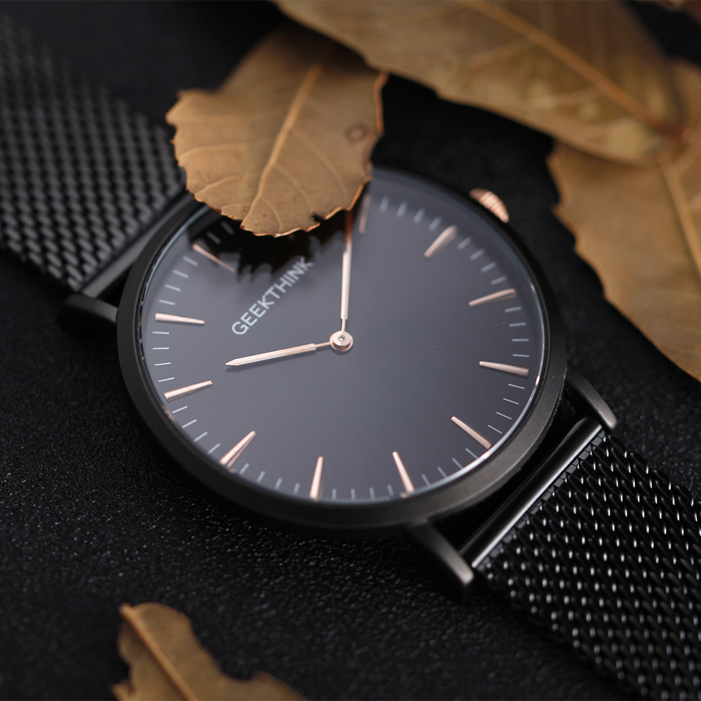 Geekthink Stainless Steel Fine Mesh Strap Ultra Thin Watches Quartz Men Luxury Simple Fashion Japan Movement Watch