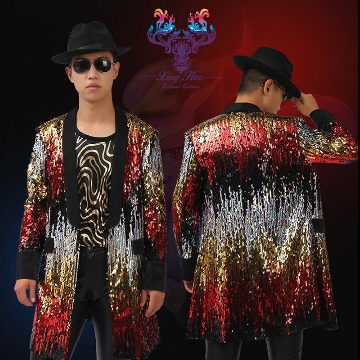 Actief Mannen Pakken Trenchcoat Ontwerpen Podium Kostuums Voor Zangers Mannen Sequin Blazer Dans Middellange Patchwork Kleding Jacket Ster Sterke Verpakking