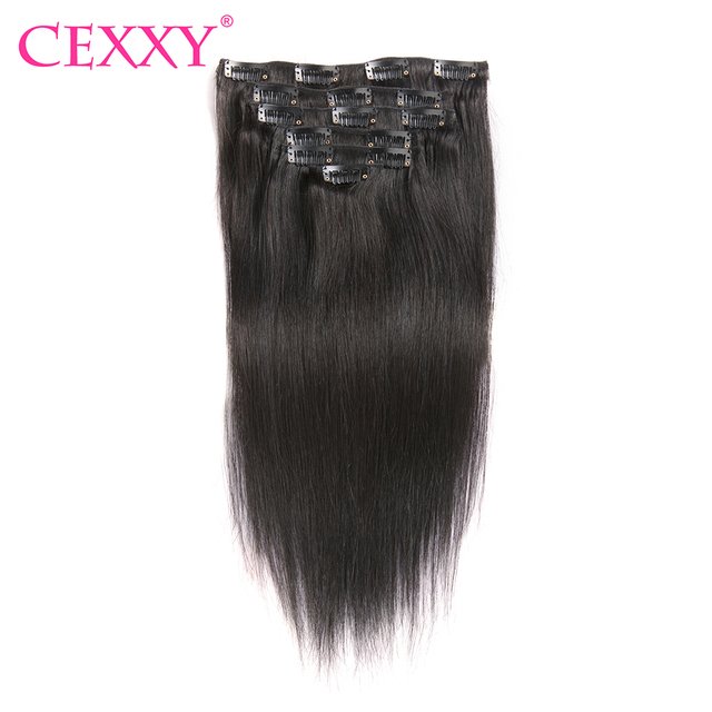 Cexxy Clip In Human Hair Extensions Straight Natural Color 7 Pieces
