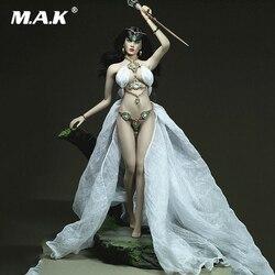 1/6 Sexy ubrania damskie biała bogini sukienka ubrania trzciny akcesoria Model dla 12 cal Phicen duży biust kobiet działania