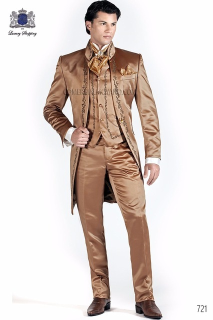New Arrival Brown Italian Embroidery Wedding Suits For Men Formal Tuxedos Large Dress Groom Party Prom Suit Long Jacket 3 Pieces