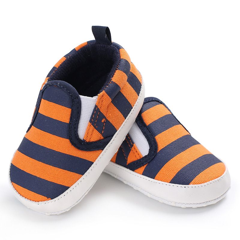 Anti-Slip Toddler Baby Boy Girl Soft Sole Striped Patchwork Crib Pram Shoes First Walkers Fashion Prewalker