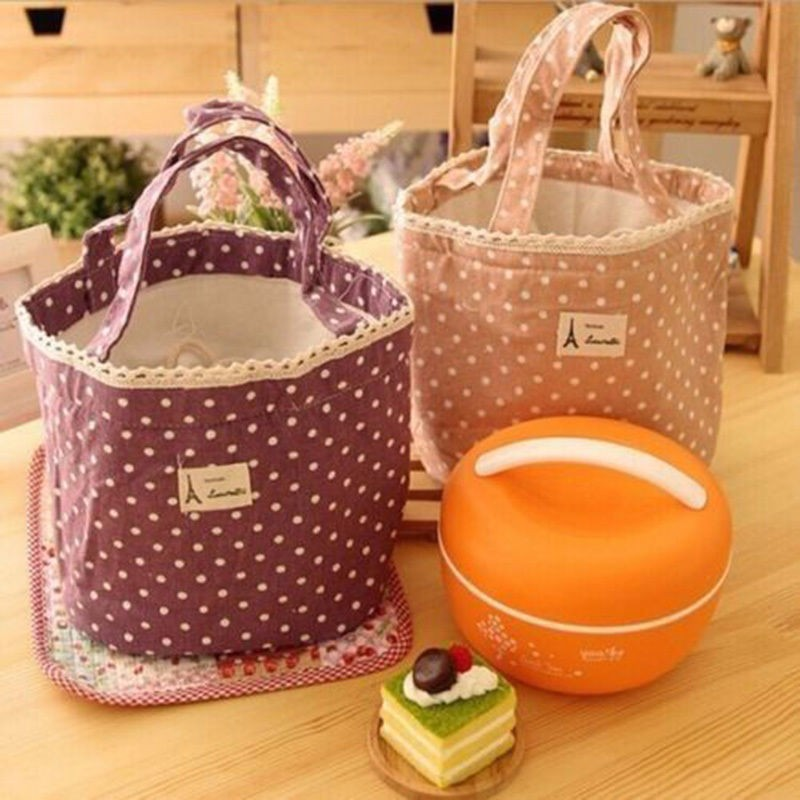 1pc Insulated Tinfoil Aluminum Cooler Picnic Lunch Box Bag Small Dot Thermal Dinner Travel Purse Zipper Waterproof Snack Food Storage Lunch Bag (2)