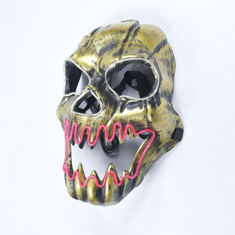 EL drátová maska Light Up Neonová lebka LED maska Pro Halloween party a koncert strašidelné party téma cosplay Payday Series Masky By DC-3V