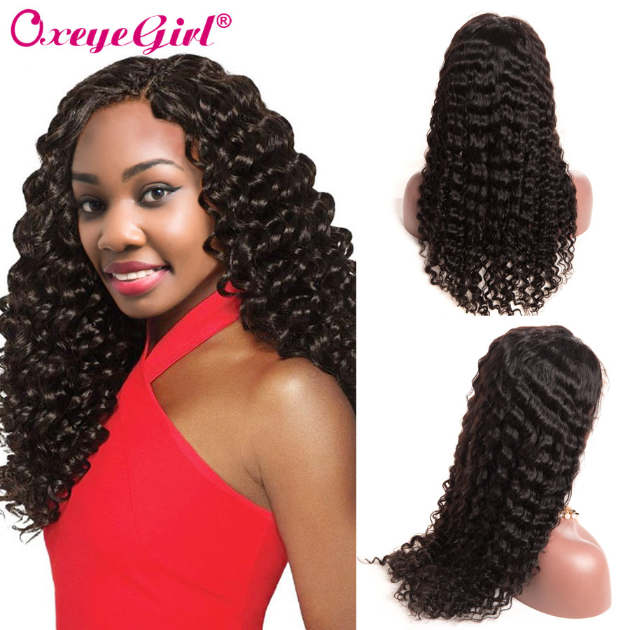 Lace Wigs 360 Lace Frontal Wig Pre Plucked With Baby Hair Afro Kinky Curly Wig For Black Women Remy Peruvian Hair Oxeye Girl Long 360 Wigs Human Hair Lace Wigs
