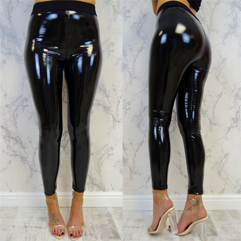 Hot Fashion Women Sexy Push Up Black Pants Slim Soft Strethcy Shiny Wet Look Faux Leather Leggings Trousers