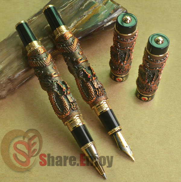 2 PCS JINHAO TWO DRAGON PLAY PEARL COPPER BROAD NIB FOUNTAIN PEN + ROLLER BALL PEN SET цены