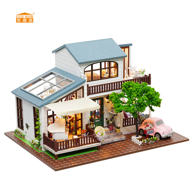 CUTE ROOM New arrival Miniature Wooden Doll House With DIY Furniture Fidget Toys For Kids Children Birthday Gift London styleA39 1 set totoro umbrella jenga diy doll animiation action figure kids toys gift miniature model doll house car ornaments