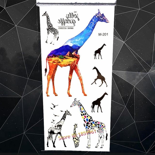 Padang Rumput Warna Jerapah Stiker Tato Wanita Seni Tubuh Arm