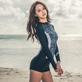 a689730af De manga larga de lycra con cremallera camisa y pantalones cortos 2 piezas  conjunto PIEL DE BUCEO DE BAÑO erupción natación trajes de surf