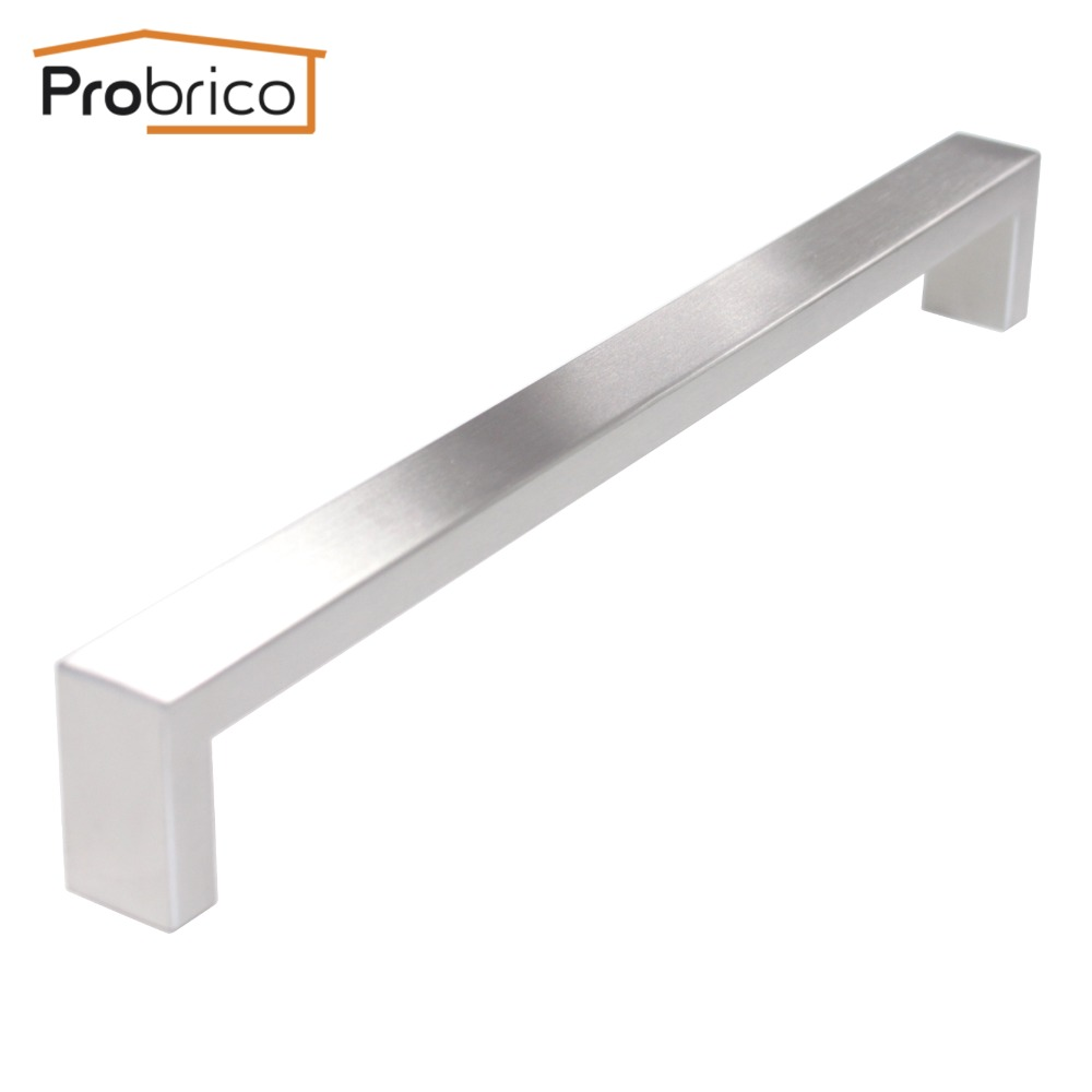 Probrico 10 PCS 10mm*20mm Square Bar Handle Stainless Steel Hole Spacing 256mm Cabinet Door Knob Drawer Pull PDDJ30HSS256 probrico 10mm 20mm square bar handle stainless steel hole spacing 128mm cabinet door knob furniture drawer pull pddj30hss128