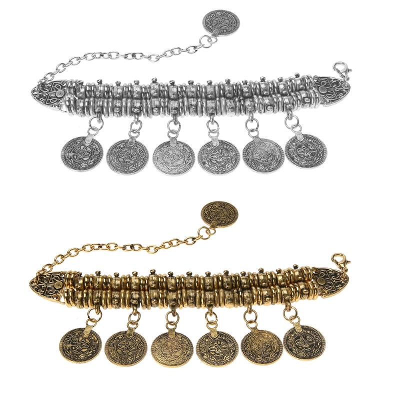 Women Bohemian Antalya Coin Tassel Bracelet Ancient Silver Gold Color Bracelet 2017 pulseras mujer