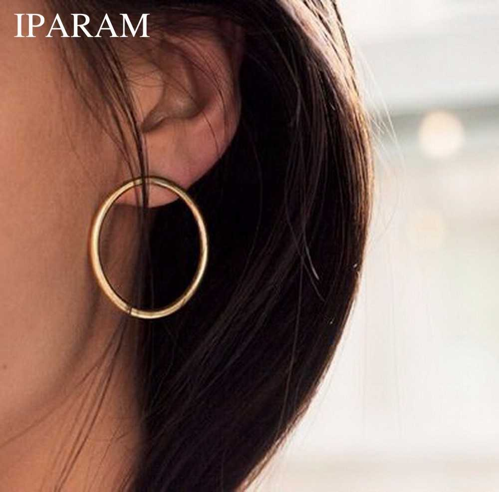IPARAM New Simple Korean Fashion Aros Big Round Circle Hoop Earrings for Women Geometric Ear Hoops Earing Brincos Jewelry Gift