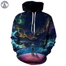 Mr.1991INC Colorful Clouds Sky Hoodies Men/Women 3d Sweatshirts Print Person and Dog Hoody Unisex Hooded Tracksuits Tops(China)