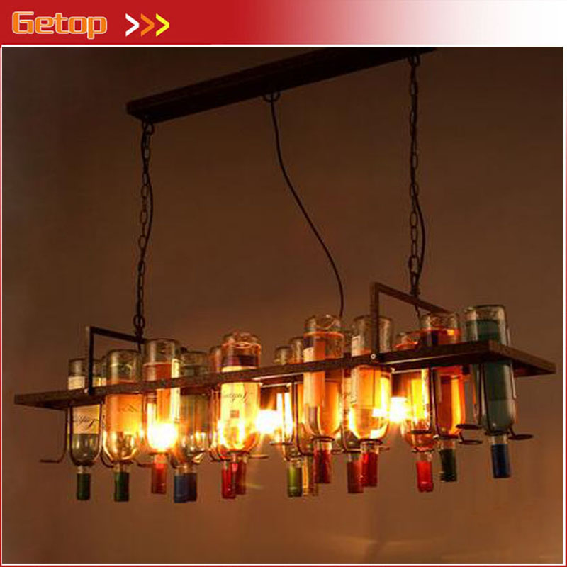 ZX Creative Retro Wine Bottle Wrought Iron Chandelier Rectangle Rusty E27 LED Light Fixture for Cafe Bar Sitting Restaurant Lamp