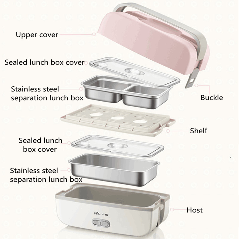220V Electric Heating Lunch Box Multifunction Cooking Machine Portable Electric Heating Pot Stainless Steel Inner For
