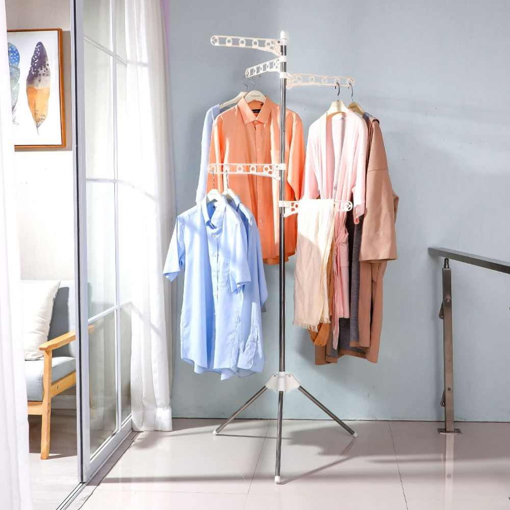 5 Layer Foldable Clothes Laundry Drying Rack Hanging Socks Storage Hanger Organiser Tripod Stand DQ1809/DQ1809-1