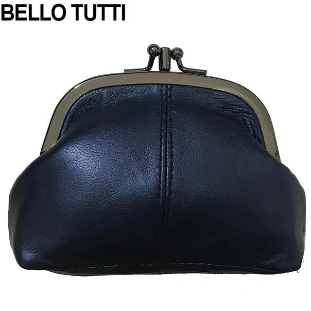 6930daab5aac BELLO TUTTI Women Wallets Genuine Leather Mini Coin Purse Natural Sheepskin Metal  Frame Small Change Purse