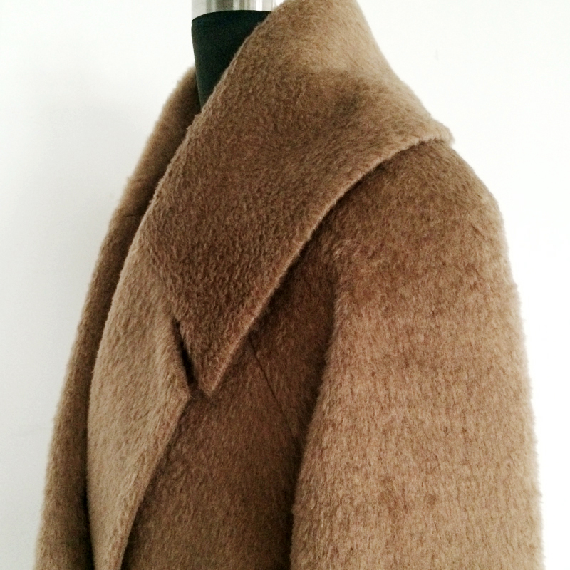 Новая мода зима-осень, Шерсть альпака, кашемировое пальто, пальто с отворотом и мехом