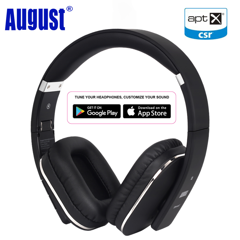 August EP650 New Over Ear Bluetooth Wireless Headphones with EQ APP Control Bass Rich Sound Wireless Headset with NFC / aptX-LL panasonic rp hxs400m a sound rush plus on ear headphones
