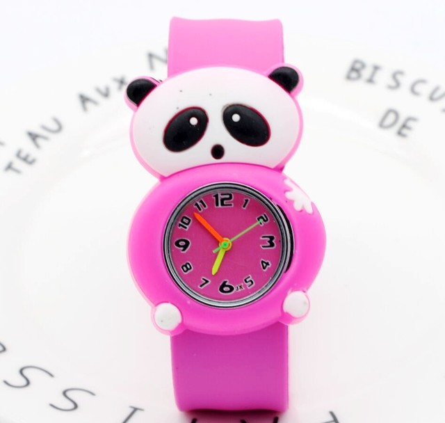 Children Kids Cute girl's Cartoon panda Slap watch Rubber Quartz Wrist Watch Chi