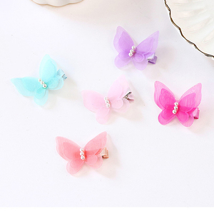 Image 4 - 1 Pc Pearl Cute Butterfly Hair Clips Snow Yarn Princess Girls Baby Hair Pins Barrette Women Hairpins Side Clip Hair Accessories