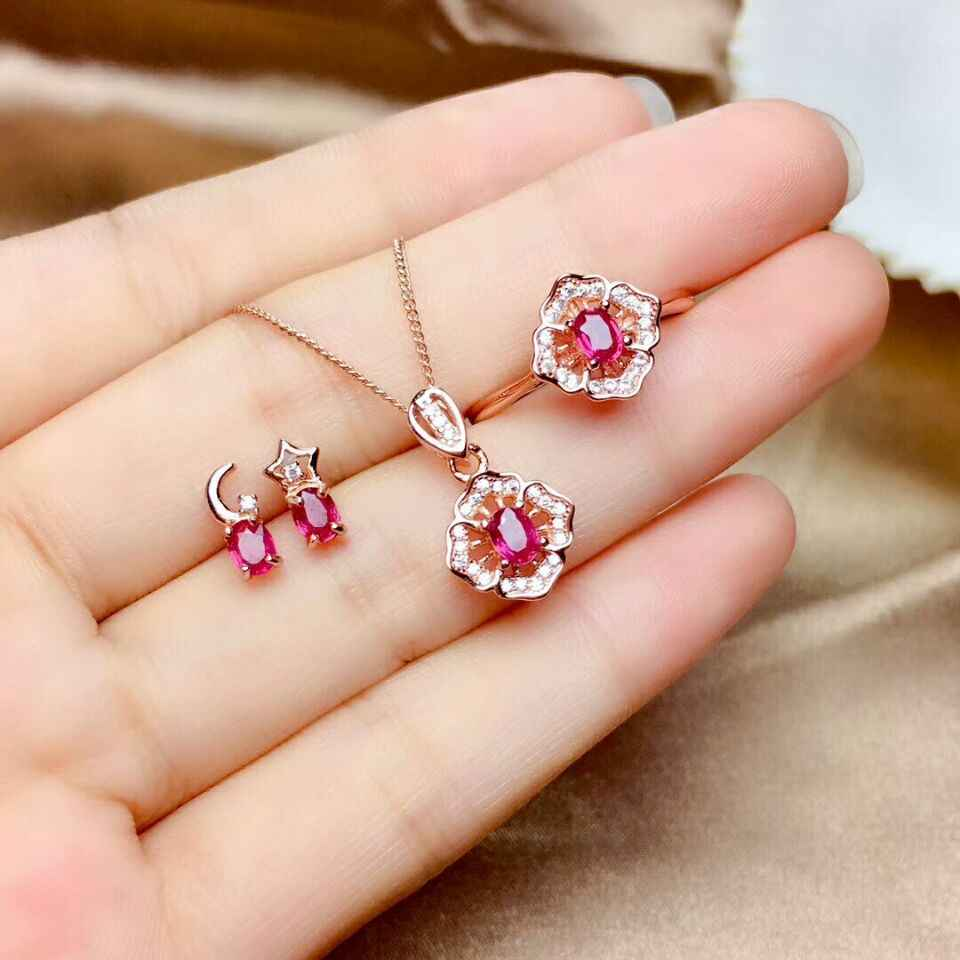 MeiBaPJ Natural New Burned Ruby Gemstone Fine Wedding Jewelry Sets 925 Silver Earrings Ring Pendant Necklace Three-piece Suite