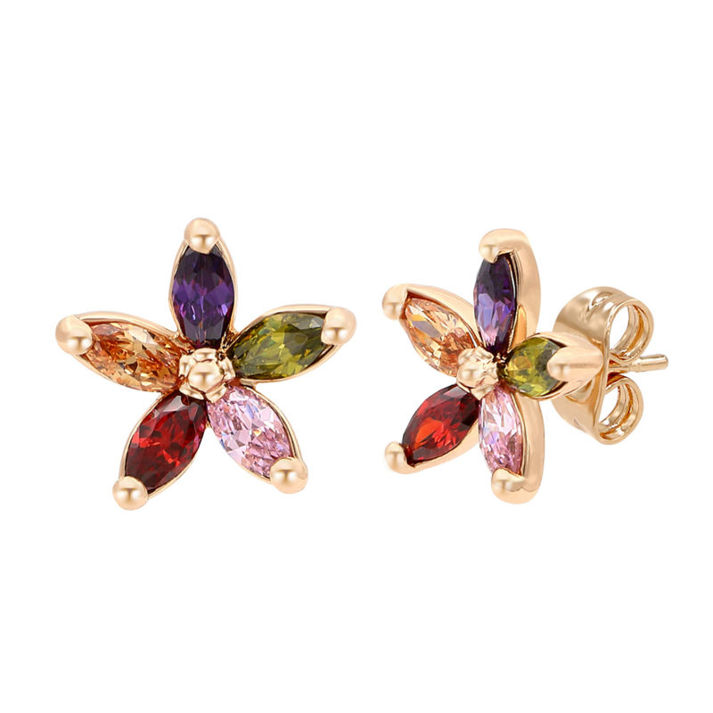 Cute Multi Color Crystals Pierced Stud Earring Flower Design ...