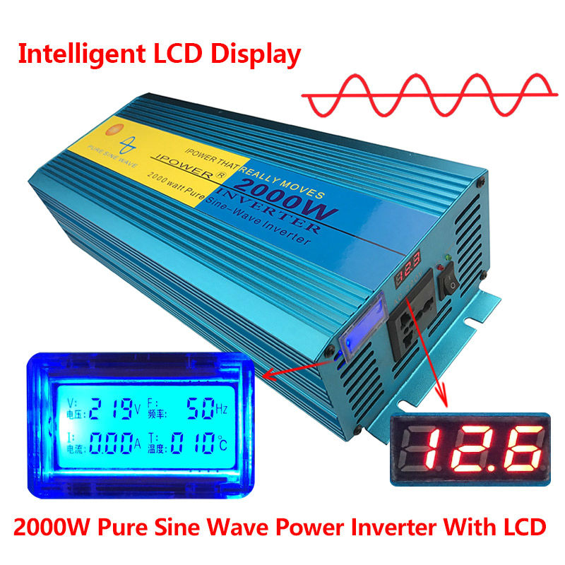 Digital Display PURE SINE WAVE POWER INVERTER 2000W 4000W MAX DC 12V To AC 220V CAMPING