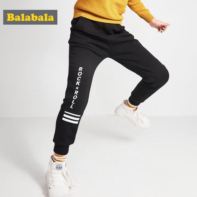 Balabala Boys Fleece-Lined Printed Pull-on Joggers Teenage Boy Pull-on Sweatpants Sport Pants with Ribbed Waistband and Hem