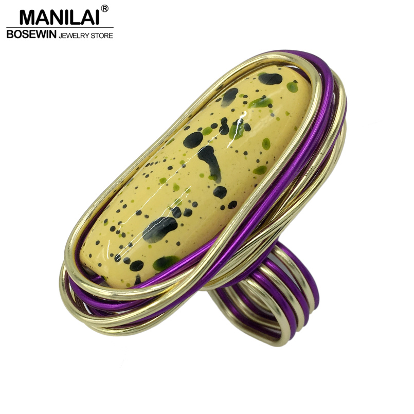 MANILAI Handmade Layered Wire Spiral Bezel Setting Flecked Acrylic Big Rings For Women Fashion Jewelry Finger Statement Rings ...