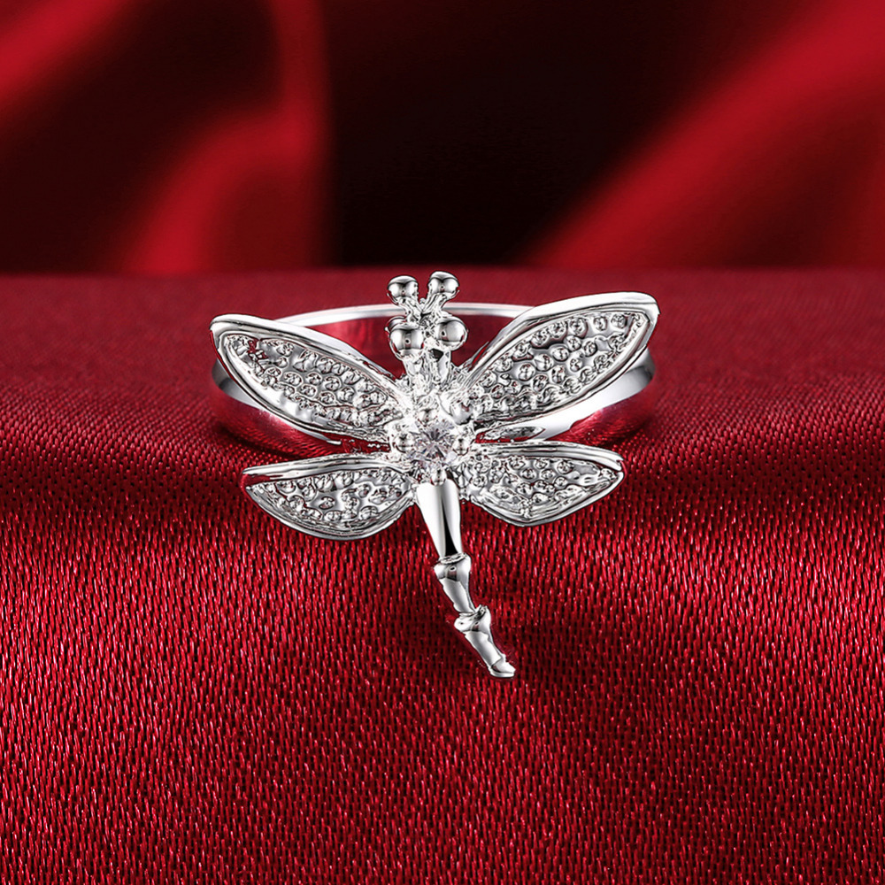 Top quality Silver Plated & Stamped 925 Ring silver fashion rings wome fine jewelry vintage crystal dragonfly wedding ring