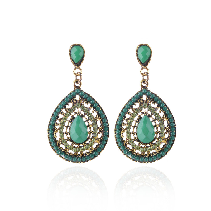 European and American retro pendant earrings female national water drops multicolor beads big bohemian pendant earrings jewelry in Stud Earrings from Jewelry Accessories
