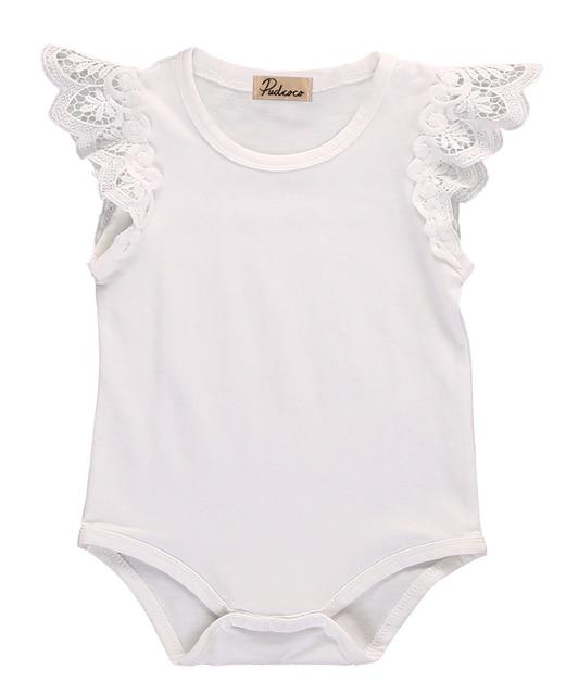 e8eeba5631d Cotton Newborn Baby Girls Toddler Lace Shoulder Sleeveless Jumper Romper  Jumpsuit Baby Summer Clothes